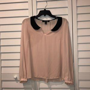 Nude pink / black collar longsleeve chiffon blouse